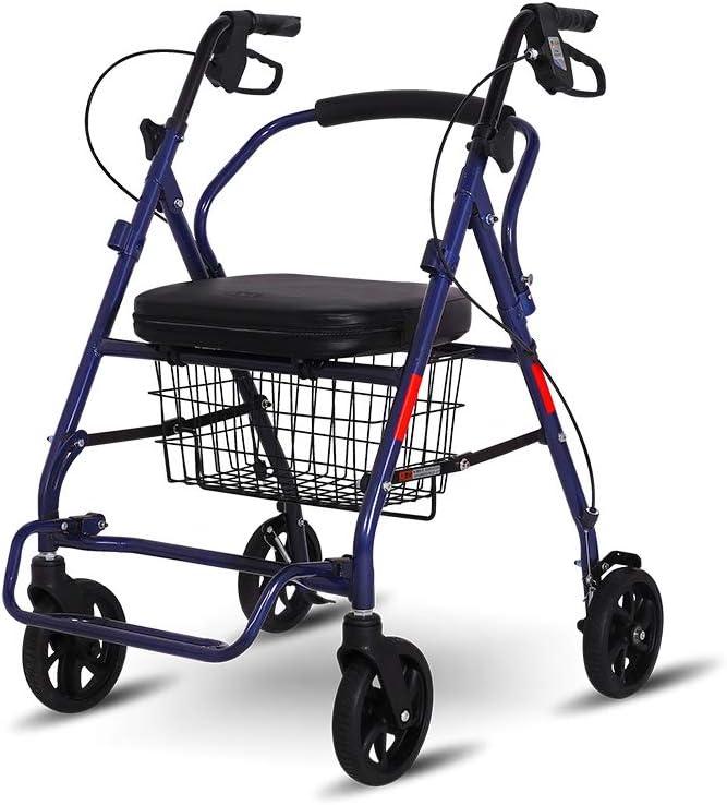 XJZHAN Andador con Ruedas Plegable con Placa De Pedal Cesta De Compra Grande Y Frenos Ayuda para Discapacitados Ajustable En 3 Alturas