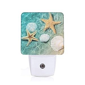 Seashells and Starfish Plug-in Night Light Dusk to Dawn Smart Sensor,White Led Nightlight for Bedroom,Bathroom,Kitchen,Hallway,Stairs,Hallway,Energy Efficient,Decor Desk Lamp