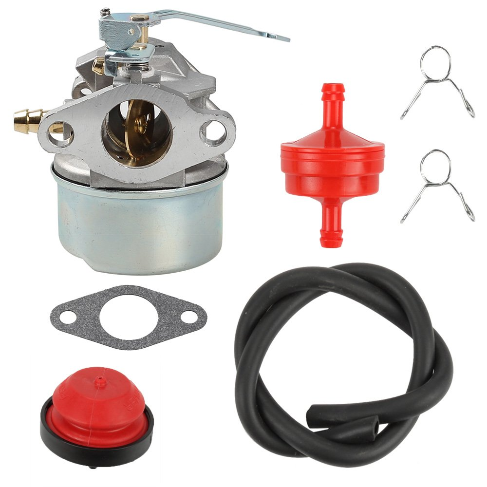 Anzac 640086A Carburetor with Gasket Primer Bulb Fuel Filter Fuel Line Clamps For Tecumseh 3HP 2 Cycle Snowblower 640098A 632552 Toro Craftsman MTD Yardmachine Carb