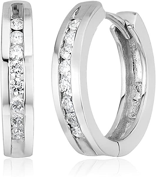 de6ba9a33 Amazon.com: 10k White Gold Channel-Set Diamond Hoop Earrings (1/3 ...