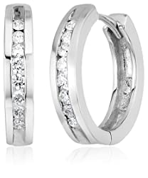 10k Gold Channel-Set Diamond Hoop Earrings - Christmas Gift Ideas For Wife