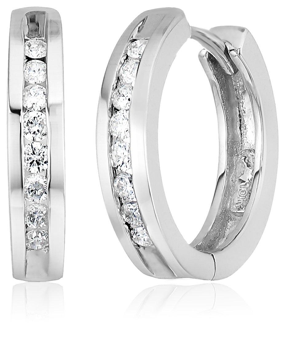 10k White Gold Channel-Set Diamond Hoop Earrings (1/3 cttw, H-I Color, I2-I3 Clarity)