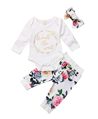 fd826a31122 2019 Newborn Baby Girls Clothes Spring White Long Sleeve Romper Jumpsuit +  Floral Pants + Floral