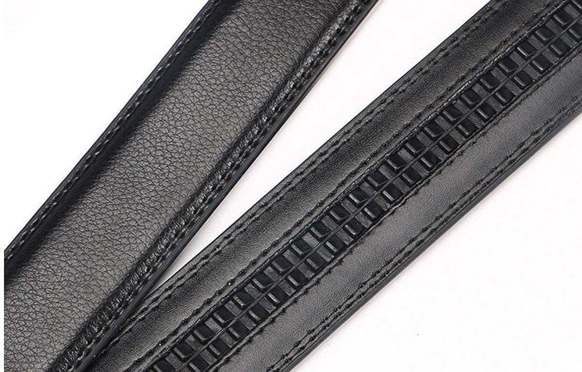 Mens Leather Black Ratchet Dressing Belt Sliding Automatic Buckle Hole less Waist Strap Large /& XLarge