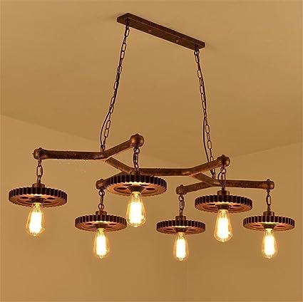 Atmko®Iluminación colgante Araña retro colgante Creativo diseño de engranajes de madera luces de techo