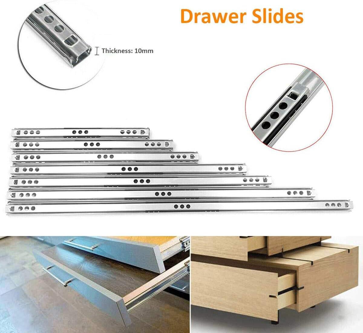 BE-TOOL Guide scorrevoli per cassetti con cuscinetti a sfera 17 mm argento in metallo per cassetti di mobili