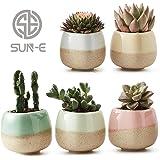 SUN-E 5 in Set 2.2 Inch Container Planter Ceramic Flowing Glaze Five Color Base Serial Set Succulent Plant Pot Cactus Plant Pot Flower Pot