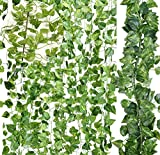 TopSF 12 Pack Artificial Vine Leaves (81-Feet) Fake Hanging Plants Greenery Garland for Home Wedding Office Garden Wall Decoration (Scindapsus Aureus)