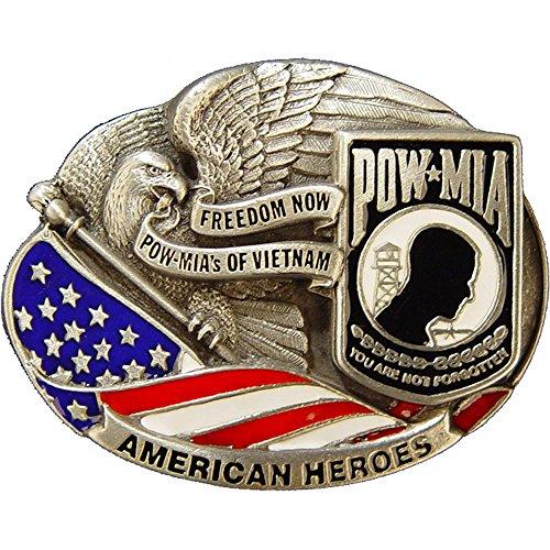 Vietnam POW MIA American Heroes Belt Buckle Enamel Red White & Blue ()