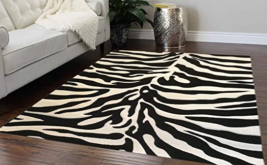 Modern Area Rug Sculpted Zebra Print 8 Ft. X 10 Ft. 6 In. Design S245 Black