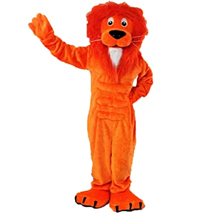 fe10b99bf44f4 Amazon.com : Orange Lion Mascot Costume Character : Sports & Outdoors
