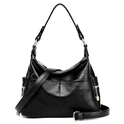Amazon.com  hongyan Women Top Handle Satchel Handbags Shoulder Bag Tote  Purse Black  Shoes bfa1442995c87