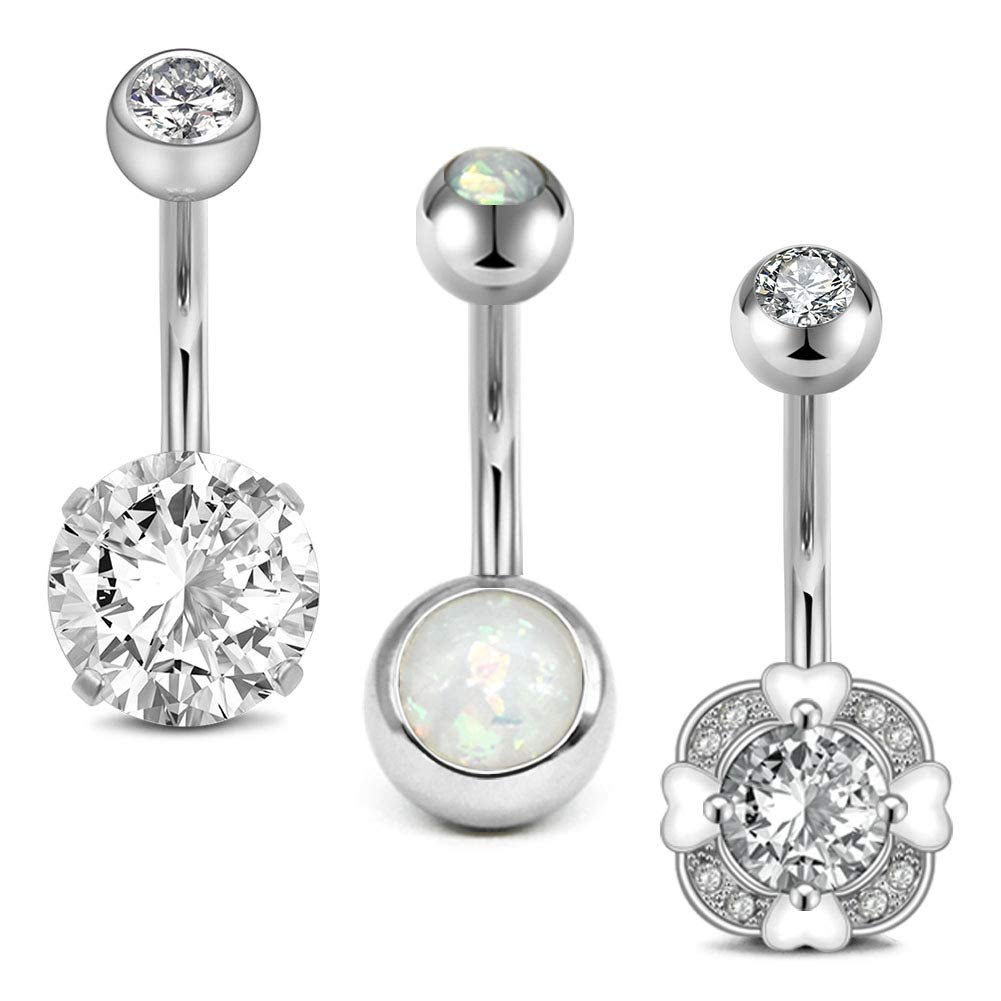 D.Bella Stainless Steel Belly Button Rings 14 Gauge Navel Barbell Belly Bars Piercing Jewelry
