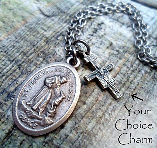 St. Francis of Assisi Charm Necklace, Patron Saint, Peace Prayer, Keychain or Purse-Backpack Clip, Boys, Men, Unisex