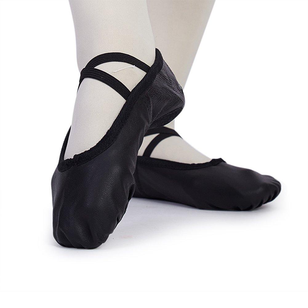 Woman's Classic Yoga Leather Ballet Dancing Shoes,Black,7 M US