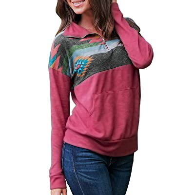 AlvaQ Women Quarter Zip Color Block Pullover Sweatshirt Tops with Pockets(9 Colors, S-XXL) at Women's Clothing store