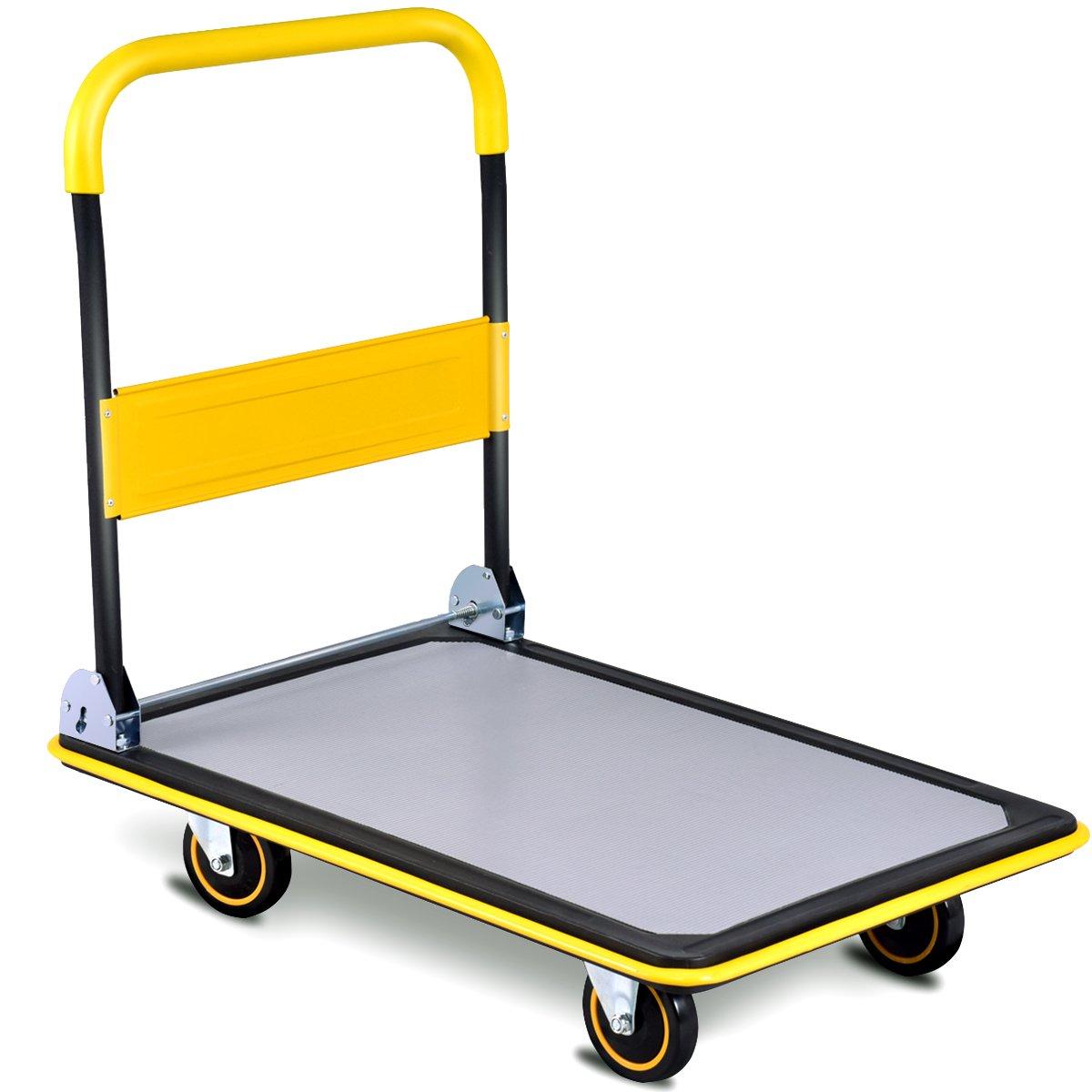 Goplus Folding Platform Cart 660LBS Rolling Flatbed Cart Hand Platform Truck Push Dolly for Loading