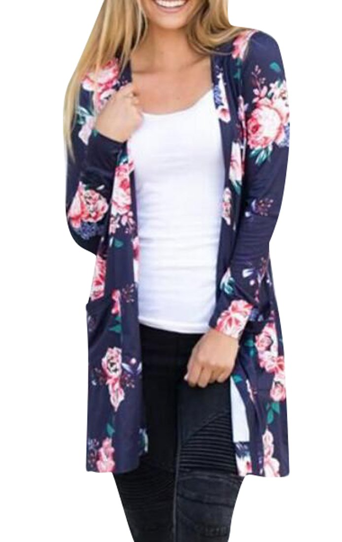 Fensajomon Womens Long Sleeve Floral Print Open Front Wrap Kimono Cardigans With Pockets Royal Blue XS