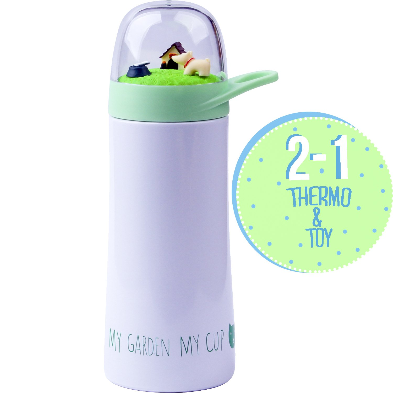 Stainless-Steel Water Bottle For Children with Toy Cap Perfect for School - Unique Insulated Container for Boys and Girls, Keep Their Beverage Cold or Hot - Toddler Grey Vacuum Thermo