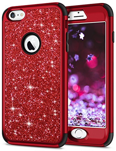 SAMONPOW iPhone 6s Plus Case 3 in 1 Full Body Protection Cover Bling Glitter Sparkle Hard PC Soft Slicone Inner Heavy Duty Rugged Bumper for iPhone 6s Plus / 6 Plus 5.5 inch - Black
