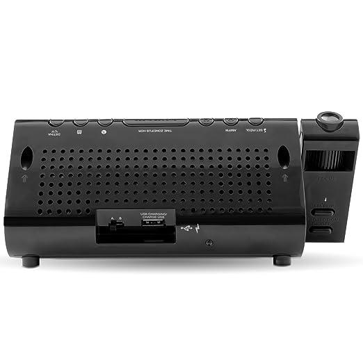Amazon.com: De carga USB Radio Despertador con proyección de la hora, la batería de reserva, Tiempo de ajuste automático, alarma dual, 1.2