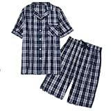 Amoy madrola Men's Cotton Woven Short Sleeve Pajama Set Short Sleepwear SY290-Navy Plaid-M