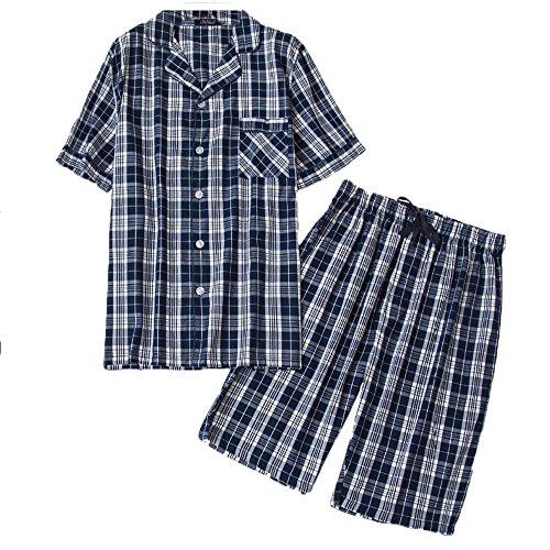 (Amoy madrola Men's Cotton Woven Short Sleeve Pajama Set Short Sleepwear SY290-Navy Plaid-L)