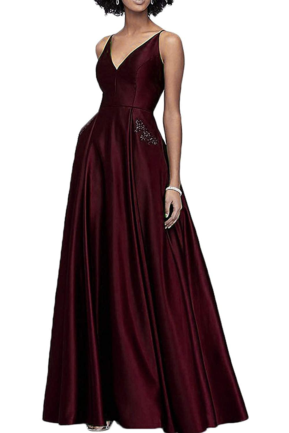 Burgundy WHLWHL Beaded Long Ball Gown Prom Dresses for Women 2019 Satin V Neckline with Pockets