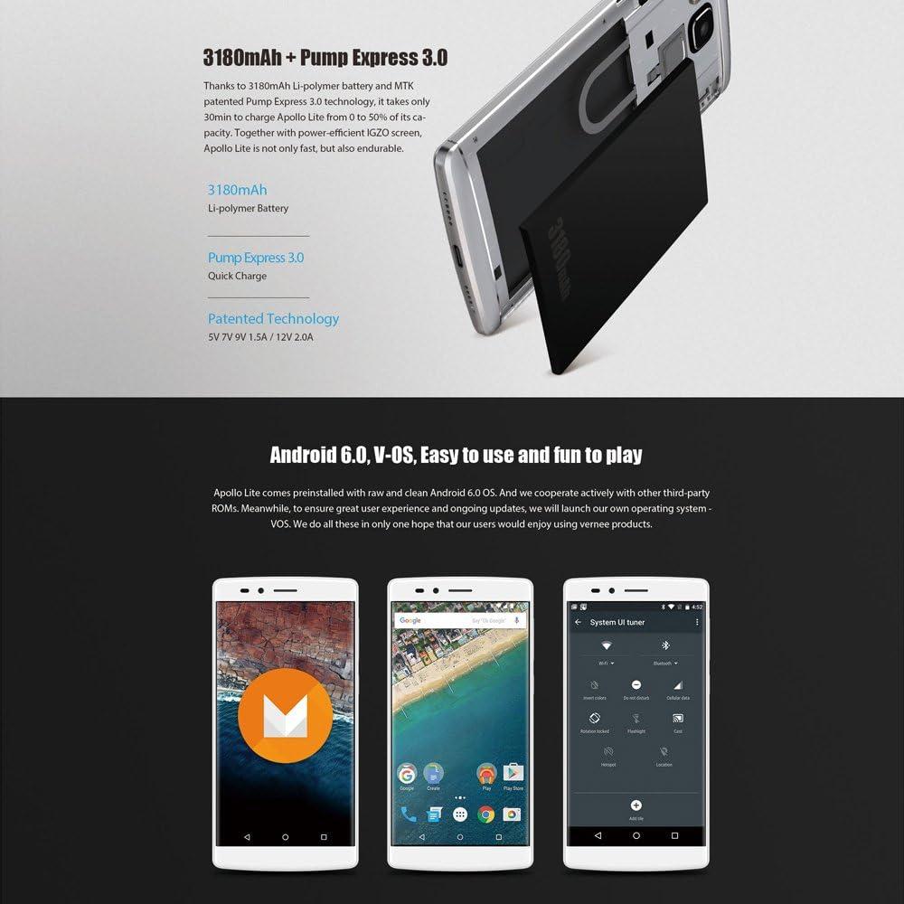Vernee Apollo Lite 4G Lte - Smartphone Android 6.0 (Mtk6797 Helio ...