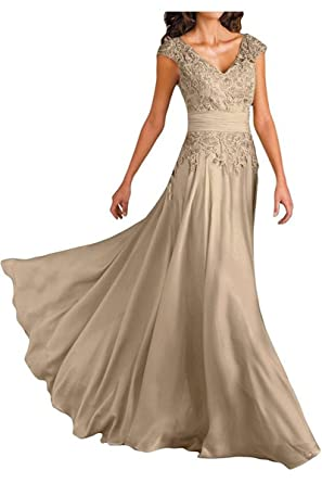 d7091a2964 Champagne Lace Applique V-Neck Mother of The Bride Dresses Chiffon Formal  Party Gowns Long