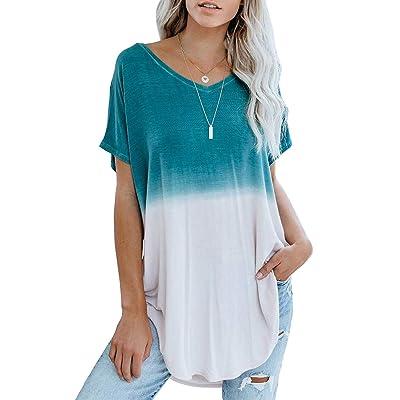 Eytino Women Long Sleeve Sweatshirt Colorblock Tie Dye Printed Pullover Tops(S-2XL) at Women's Clothing store