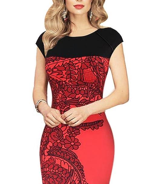 Amazon.com: faneo rojo vestido de negocio casual de negocios ...