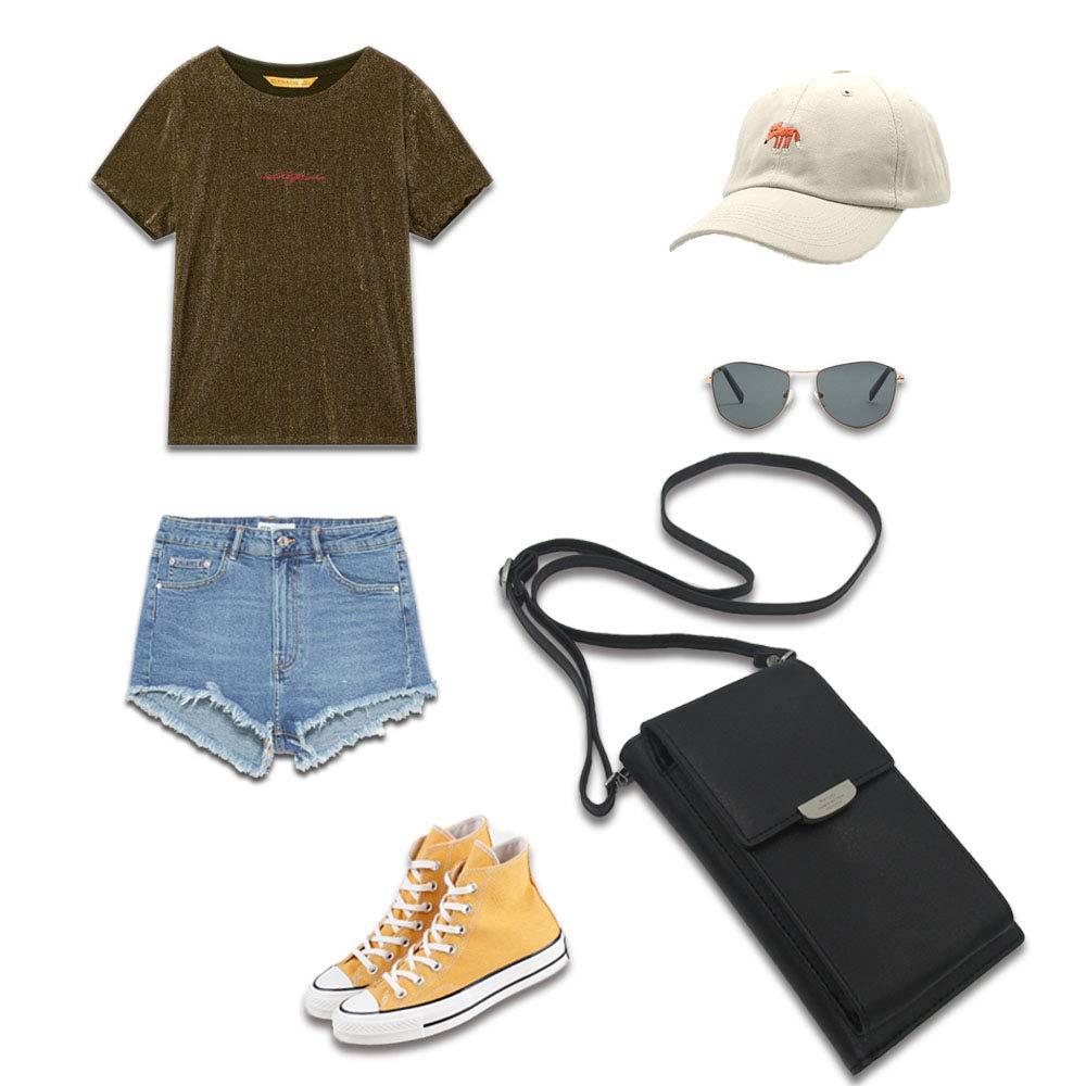 Summer Small Crossbody Bag, Cell Phone Purse Wallet with 2 Adjustable Shoulder Strap Handbag for Women (Black) by VIVI MAO (Image #6)