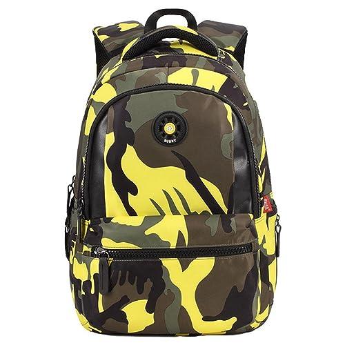 EOZY Cartable à Dos Enfant Camouflage Primaire Sac à Dos Scolaire Garçon Collège 31*14*44CM Jaune