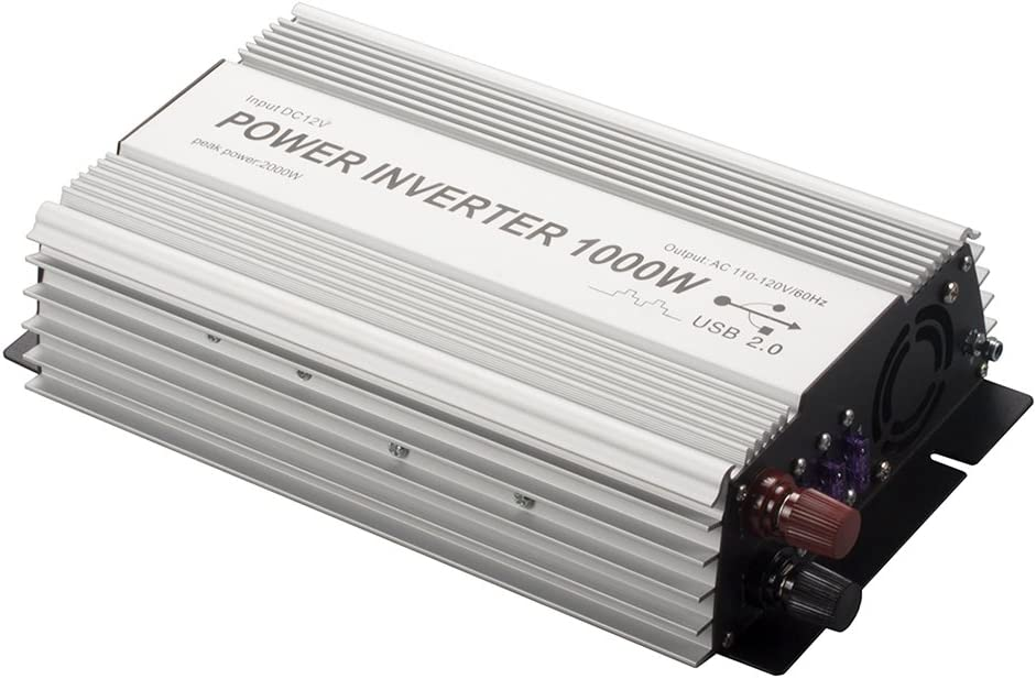 1000W Power Inverter, Dual AC Outlets, DC 12V to 110V AC Car Converter with USB Charging Port for Smartphone, Laptop, Tablet.