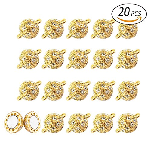 REVEW 20pcs Rhinestone Round Ball Brass Magnetic Clasps Crystal Pave Ball Magnetic Beads Clasp for Bracelet Necklace Jewelry (Gold 8mm) (Pave Clasp Ball)