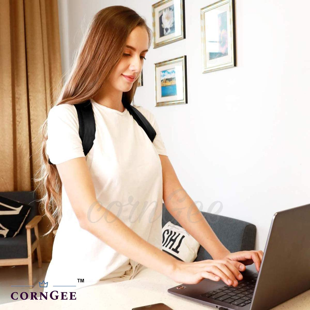 cornGee FDA Registered Posture Corrector for Women Men Comfortable Posture Trainer Upgraded Adjustable Back Straightener Neck and Back Pain Relief Unique Design Spine and Back Support