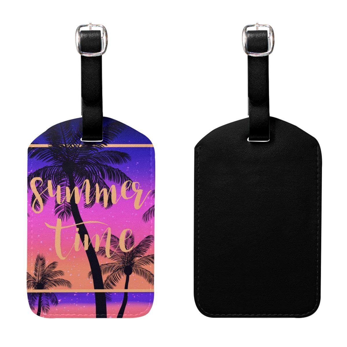 PU Leather Travel Luggage Tags Summer Tropical Palms Sky Luggage Tag Label Bags Case 2 Set