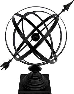 """Treasure Gurus Sundial Cast Iron 24"""" Armillary Arrow Sphere Garden Decor"""