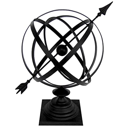 Sundial Cast Iron 24u0026quot; Armillary Arrow Sphere Garden Decor