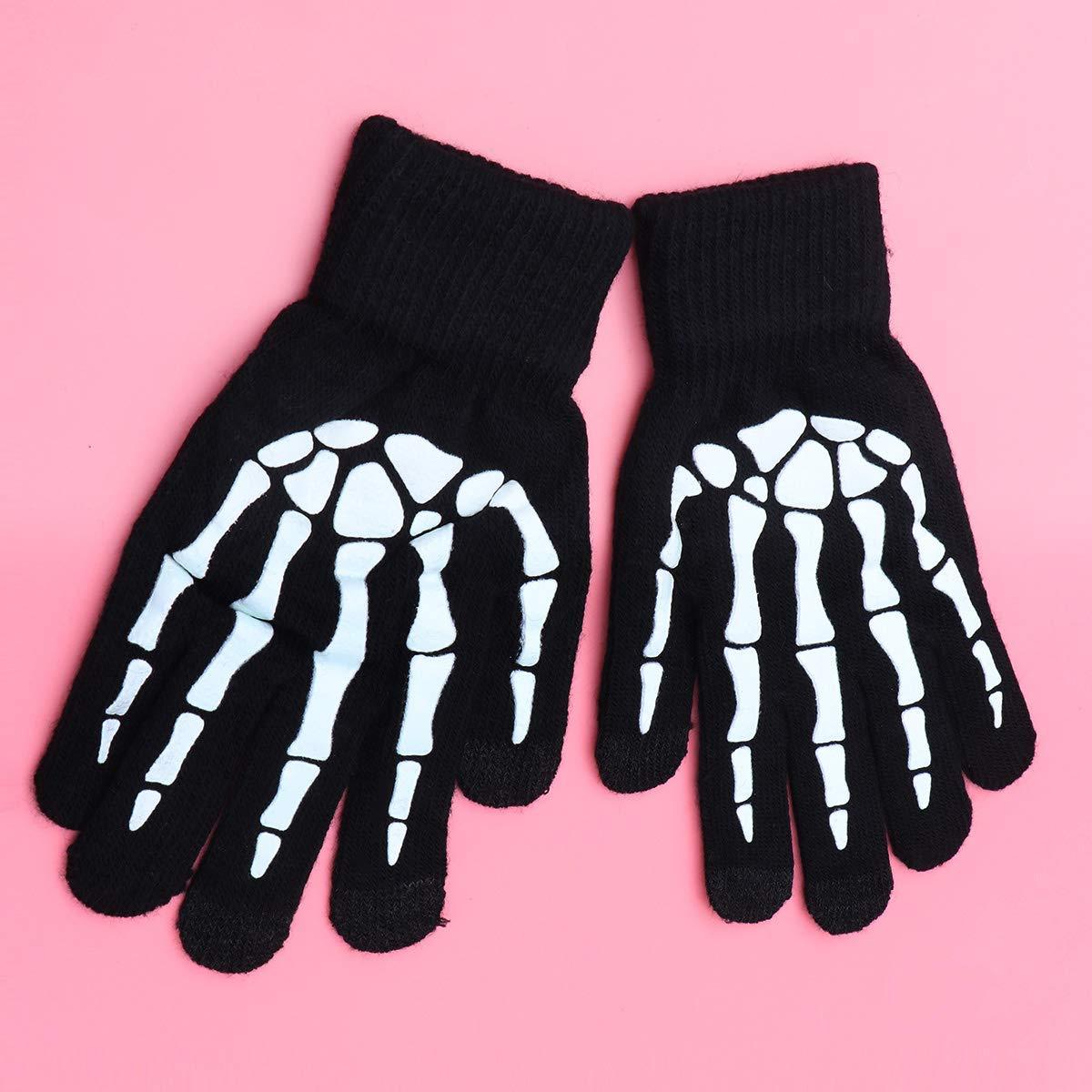 Nero Amosfun Guanti da Diavolo da Uomo Knitting Skeleton Claw Glove