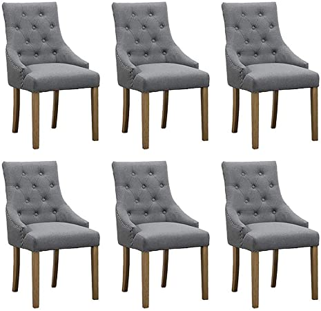 Cucina Letters Kitchen Decor, Boju 6 Grey Fabric Dining Room Chairs With Armrests For Kitchen Comfy Upholstered High Back Wood Legs Chairs For Bedroom Living Room Occasional Chairs Set Of 6 X6 Amazon Co Uk Kitchen Home