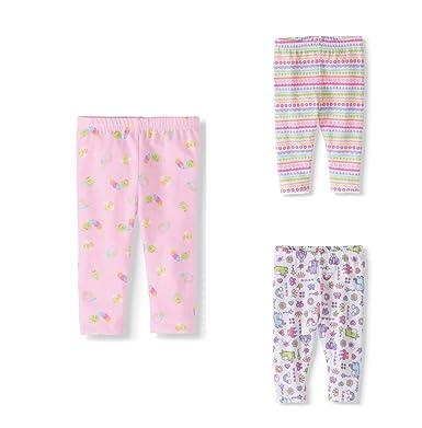 996f25744b833 Garanimals Baby Girl Printed Leggings, Set of 3, Size 24M(Pink/White):  Amazon.co.uk: Clothing