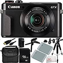 "Canon PowerShot G7 X Mark II Digital Camera 11PC Accessory Bundle. Includes 16GB Memory Card + 2 Replacement NB-13 Batteries + AC/DC Rapid Home & Travel Charger + Pistol Grip/Table Top Tripod + Full Size 57"" Tripod + Micro HDMI Cable + MORE - International Version (No Warranty)"