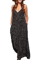 Tuesdays2 Women V-neck Polka Dot Print Spaghetti Strap Boho Long Maxi Chiffon Dresses