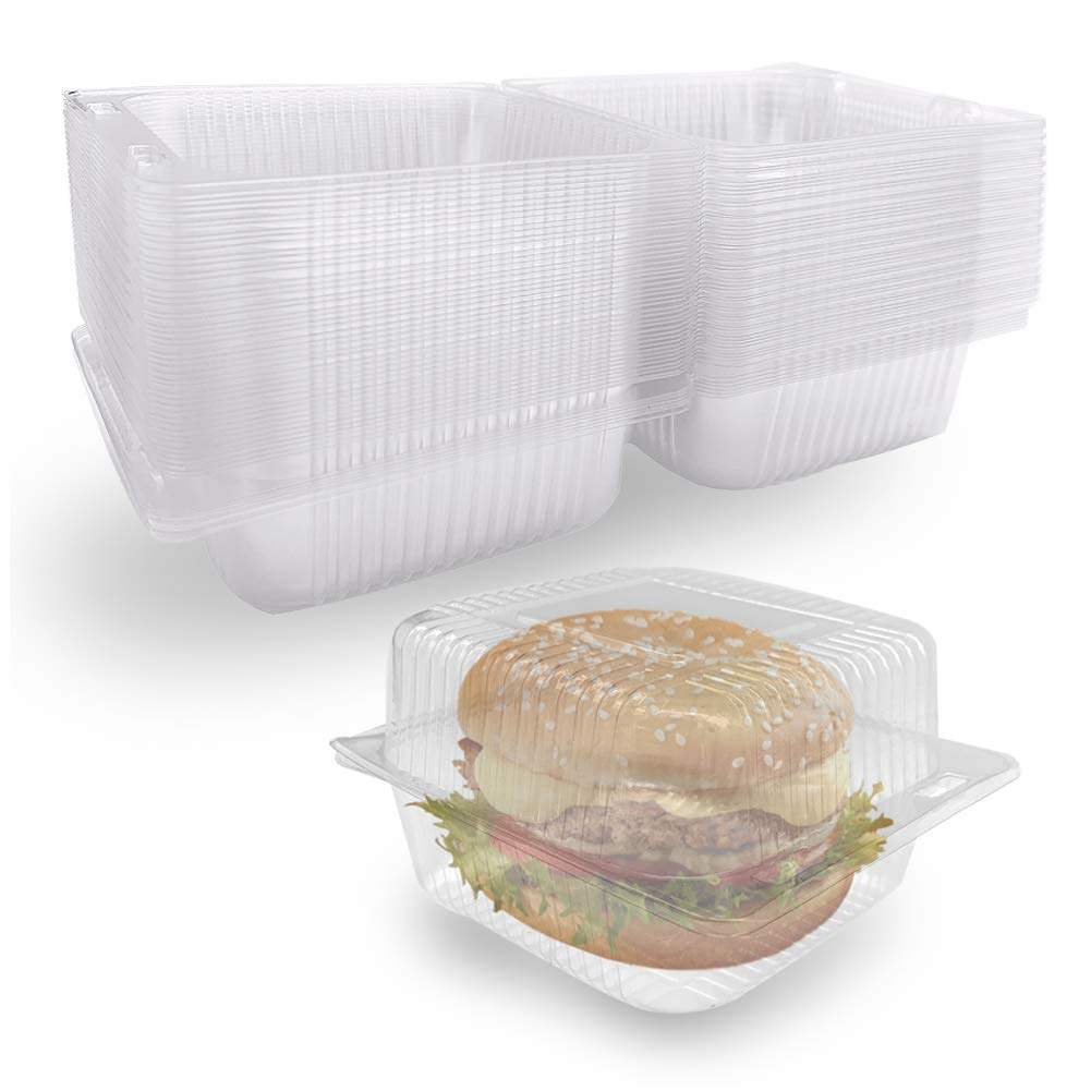 50 Pack Disposable Plastic Take Out Containers,Clear Clamshell Dessert Container,Square Hinged Food Containers for Salad,Sandwiches,Cake,Hamburger,Pastry,Bakery