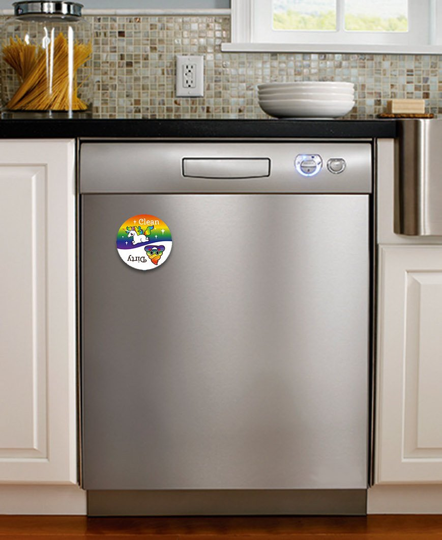 Dishwasher Emoji Magnet Clean Dirty 3 inch White Round Magnet - Cute Unicorn & Funny Rainbow Poop Face Emojis - Kitchen Magnet for Home Decor, Gift for Men & Women, or Party Favors, Made in USA PartyMoji
