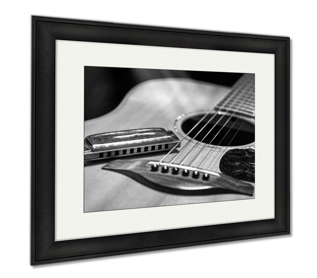 Ashley Framed Prints Acoustic Guitar With Blues Harmonica Country, Modern Room Accent Piece, Black/White, 34x40 (frame size), Black Frame, AG6464014