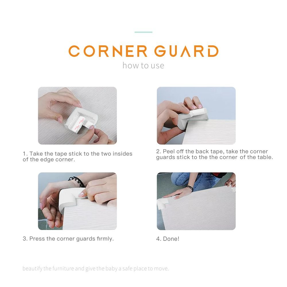 L-Shaped wanlilei Soft Baby proofing Corner Guards Protectors Beige 8 Pack Corners with 3M Tape Corners Guards Safety Baby for Furniture Beige 8 Corners