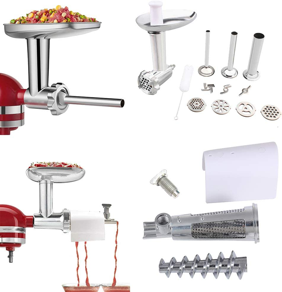 Fruit & Vegetable Strainer Set with Food Grinder Attachment for Kitchenaid Stand Mixer Fresh Fruits Jucier Vegetables Strainer Attachement Meat Grinder, Sausage Stuffer Juice Sauce Maker